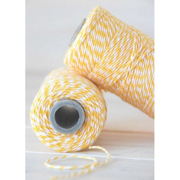 Ficelle coton baker twine jaune et blanc 100m