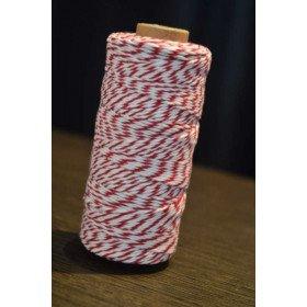 Ficelle coton baker twine rouge et blanc 100m