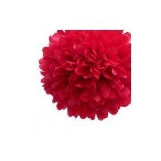Pompons Fleurs Papier de Soie Rouge 20cm lot de 4