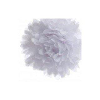 Pompons Fleurs Papier de Soie Blanc 20cm lot de 4