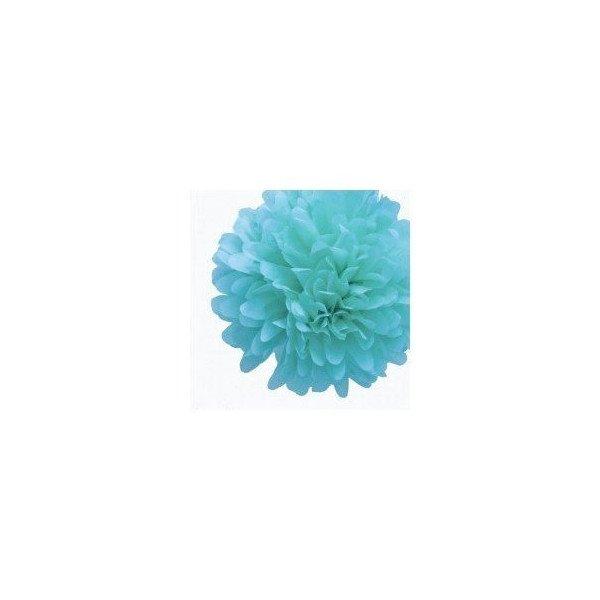 Pompon Fleur Papier de Soie Turquoise 35cm