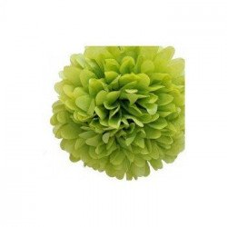 Pompon Fleur Papier de Soie vert anis 35cm