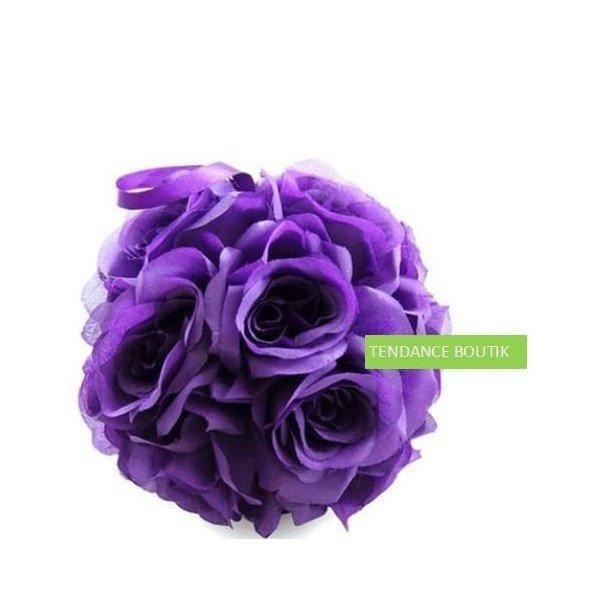 Boule De Fleur Artificiel De Couleur Violet Et De 20 Centimetres