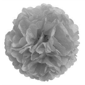 Pompons Fleurs Papier de Soie gris 20cm lot de 4