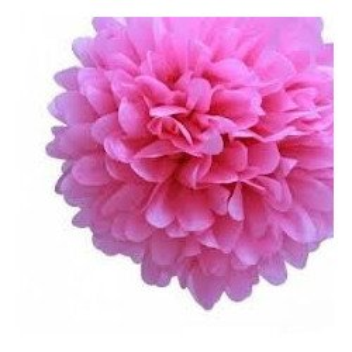 Pompon Fleur Papier de Soie FushiaX4