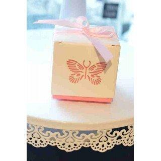 Boite dragée papillon rose X12