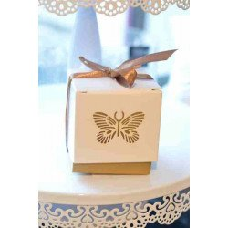 Boite dragée papillon or X10