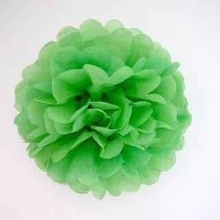 Pompons Fleurs Papier de Soie vert prairie 20cm lot de 4