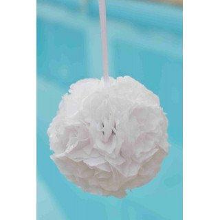 Boule de fleur artificielle mariage Blanche 20cm