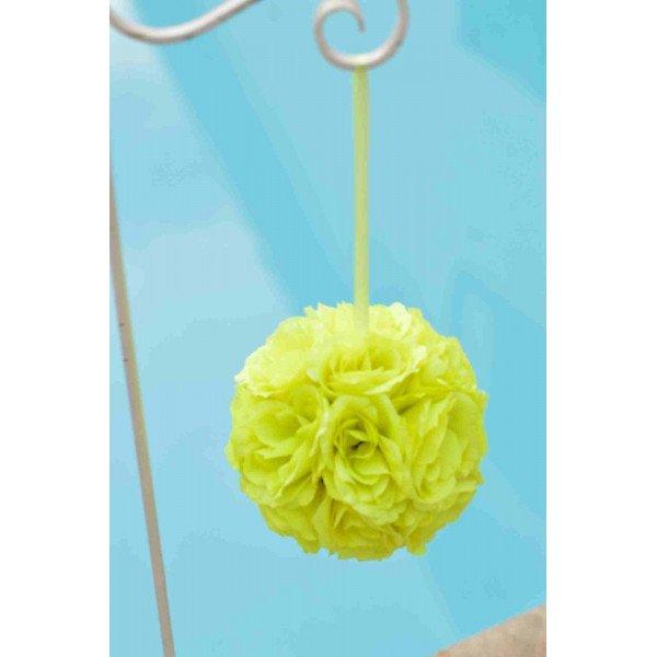 Boule de fleur artificielle mariage vert vif 20cm
