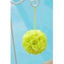 Boule de fleur artificielle mariage vert/jaune vif 20cm