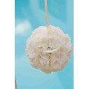 Boule de fleur artificielle mariage ivoire 20cm