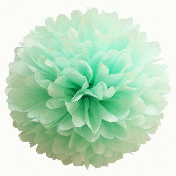 Pompon Fleur Papier de Soie vert d'eau 35cm