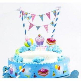 décoration pour gâteau d'anniversaire (paille et guirlande)