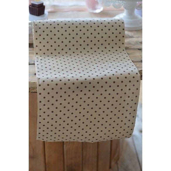 Chemin de table lin imprimé pois marron (29.5cmX10m)