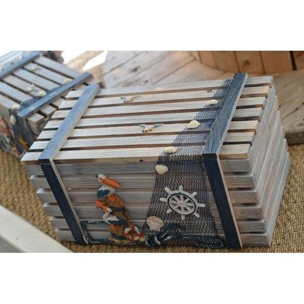 Cagette bois thème mer Modèle 4