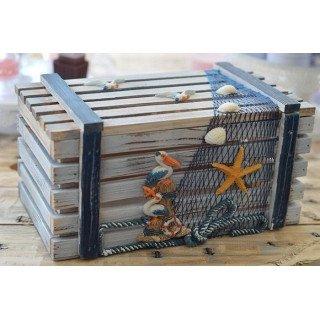 Cagette bois thème mer Modèle 3