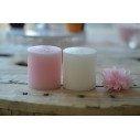 Bougie cylindrique Blanche et Rose(7.5 cm X 7.3 cm)