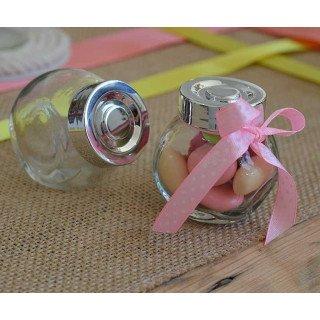 Mini bonbonnière en verre bouchon argent