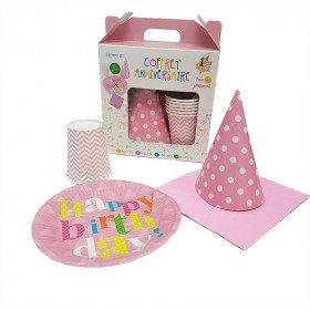 Box anniversaire motif graphique rose/blanc(pour 6)
