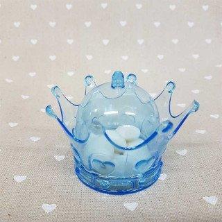 Boite dragée couronne plexi bleu