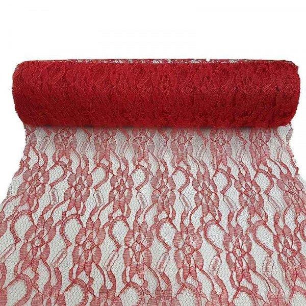 chemin de table en dentelle rouge. Black Bedroom Furniture Sets. Home Design Ideas