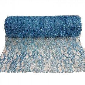 Chemin de table dentelle brillant bleu turquoise