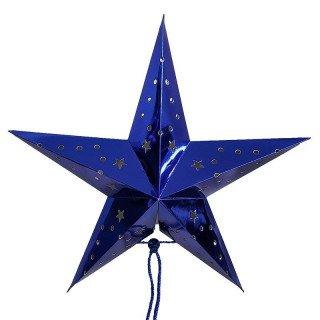 Lanterne étoile bleu roi 45 cm