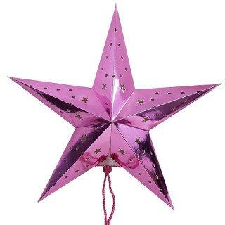 Lanterne étoile rose 45cm