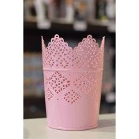 Photophore pot dentelle rose