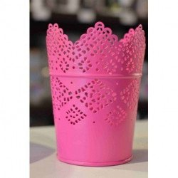 Photophore pot dentelle fushia