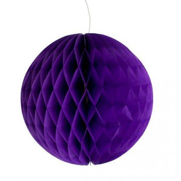 Boule alvéolée papier violet 30cm