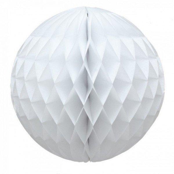 Boule alvéolée papier blanc 20cm
