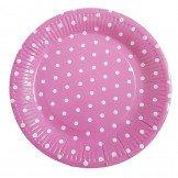 10 assiettes rose à pois blanc