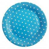 10 assiettes bleu turquoise à pois blanc