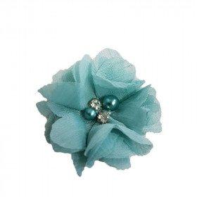 Fleur mousseline vert d'eau strass et perles