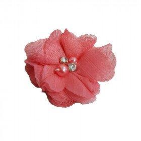 Fleur mousseline corail strass et perles