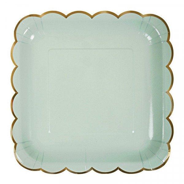 10 assiettes carrée vert d'eau