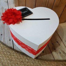 urne mariage coeur blanc