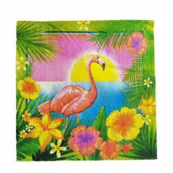 Serviette papier flamant rose fond tropical x20