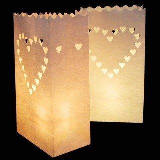 Sachet lanterne papier coeurs X10