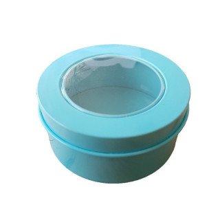 Boite dragée ronde métal bleu tiffany
