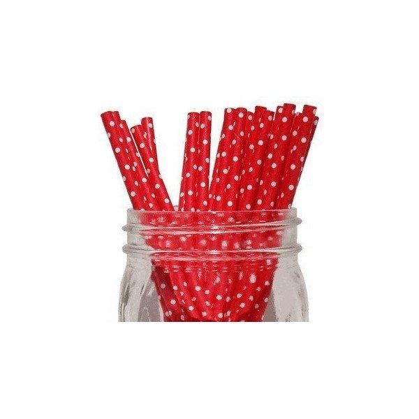 Pailles rouge et blanc petit poisX25