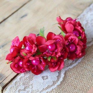 tige fleur coeur perleX12 (5 couleurs)