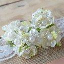tiges fleur ivoire coeur perle