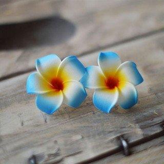 Fleur frangipannier artificielle bleu