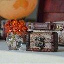 Coffre dragee en bois motif globe trotteur