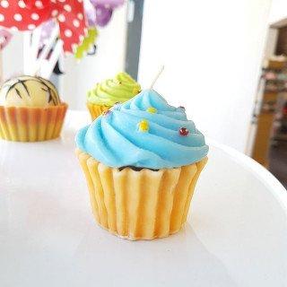 Bougie cupcake bleu