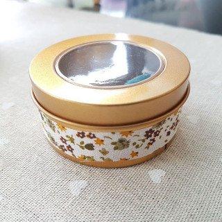 Boite dragée métal ronde or