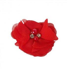 Fleur mousseline rouge strass et perles